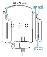 Brodit držák do auta nastavitelný s microUSB a nabíjením z cig. zapalovače/USB š.62-77 mm, tl. 6-10
