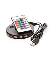 LED pásek 90cm, do USB, 27 diod, dálkový ovladač, 20 barev, samolepící